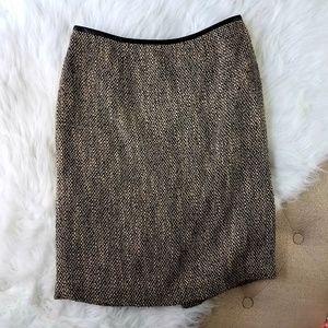 Calvin Klein Leather Trimmed Tweed Midi Skirt